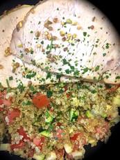 Longe de porc aux épices paella,quinoa,