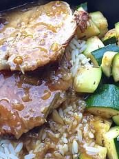 Rôti de veau sauce forestière, riz, cour