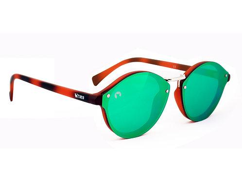 Gafas Unisex Lente Reflector Carey/Verde