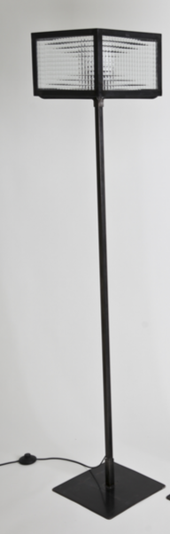 lampadaire acier et verre carré