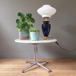 Lampe pied céramique bleue