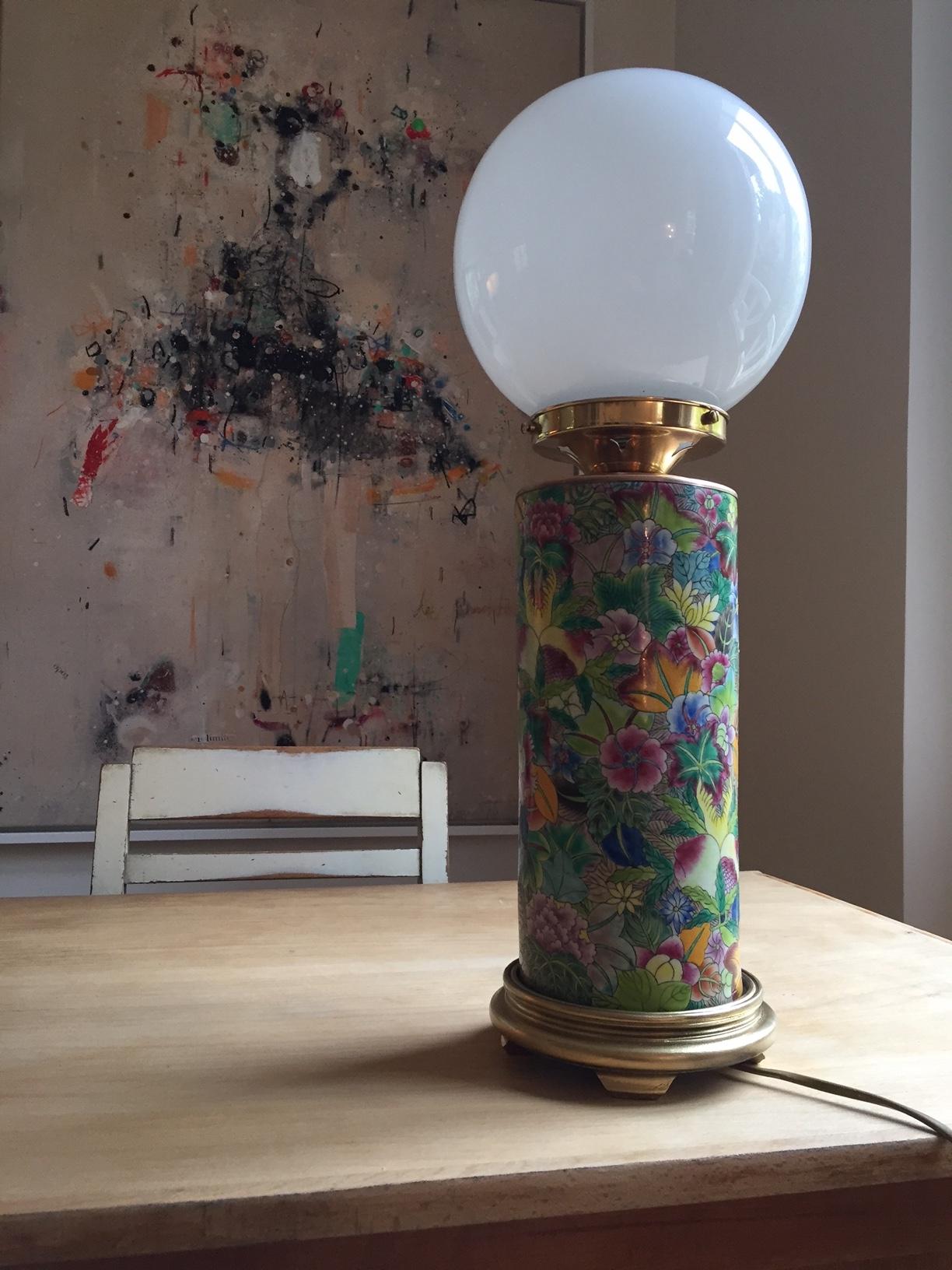 Lampe céramique fleurie/VENDUE