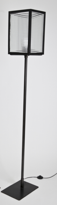 Lampadaire acier et verre rectangulaire