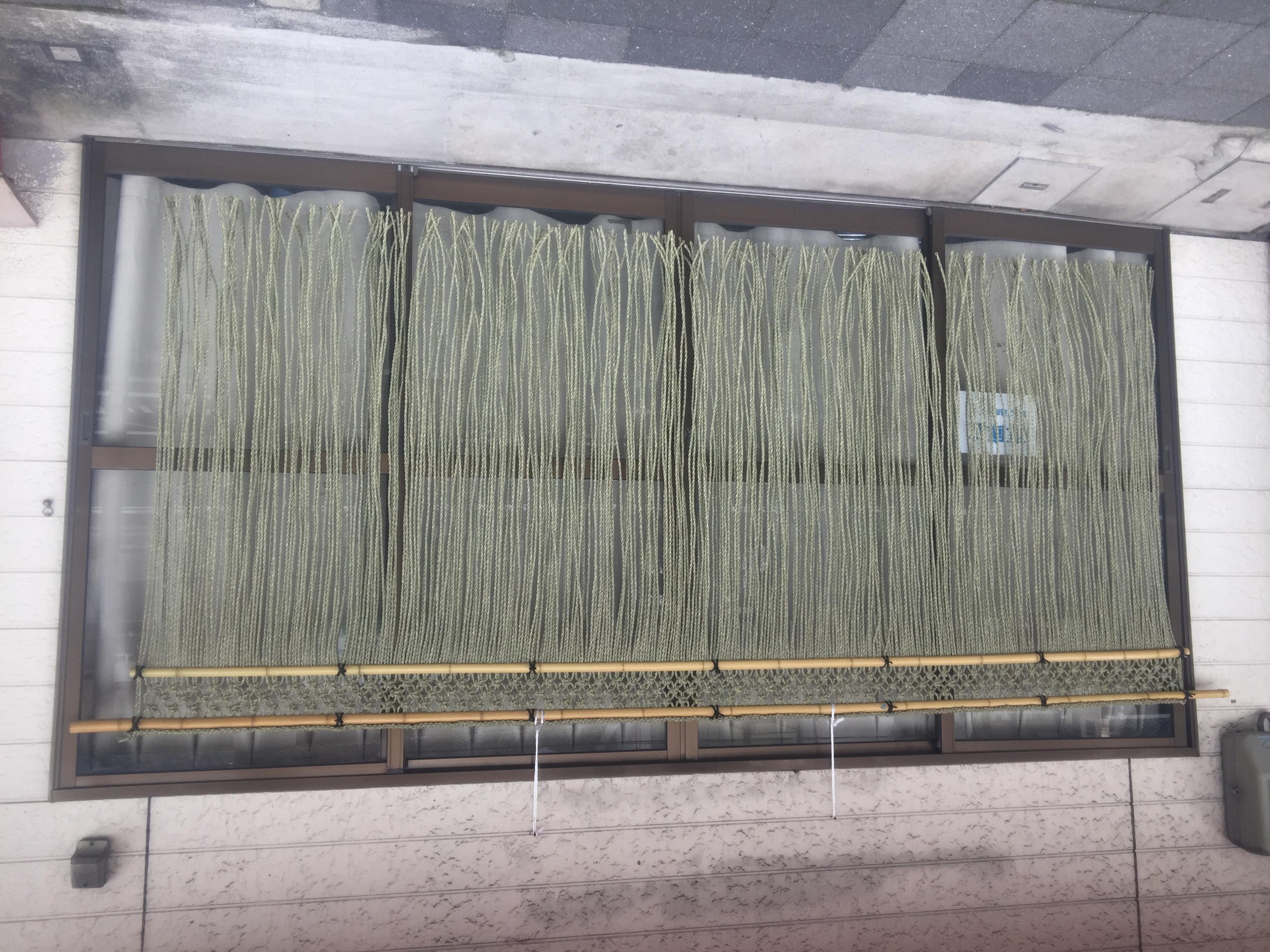 いぐさ縄のれん 格子編み 白竹