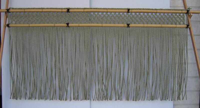 イグサ縄 格子編み 白竹
