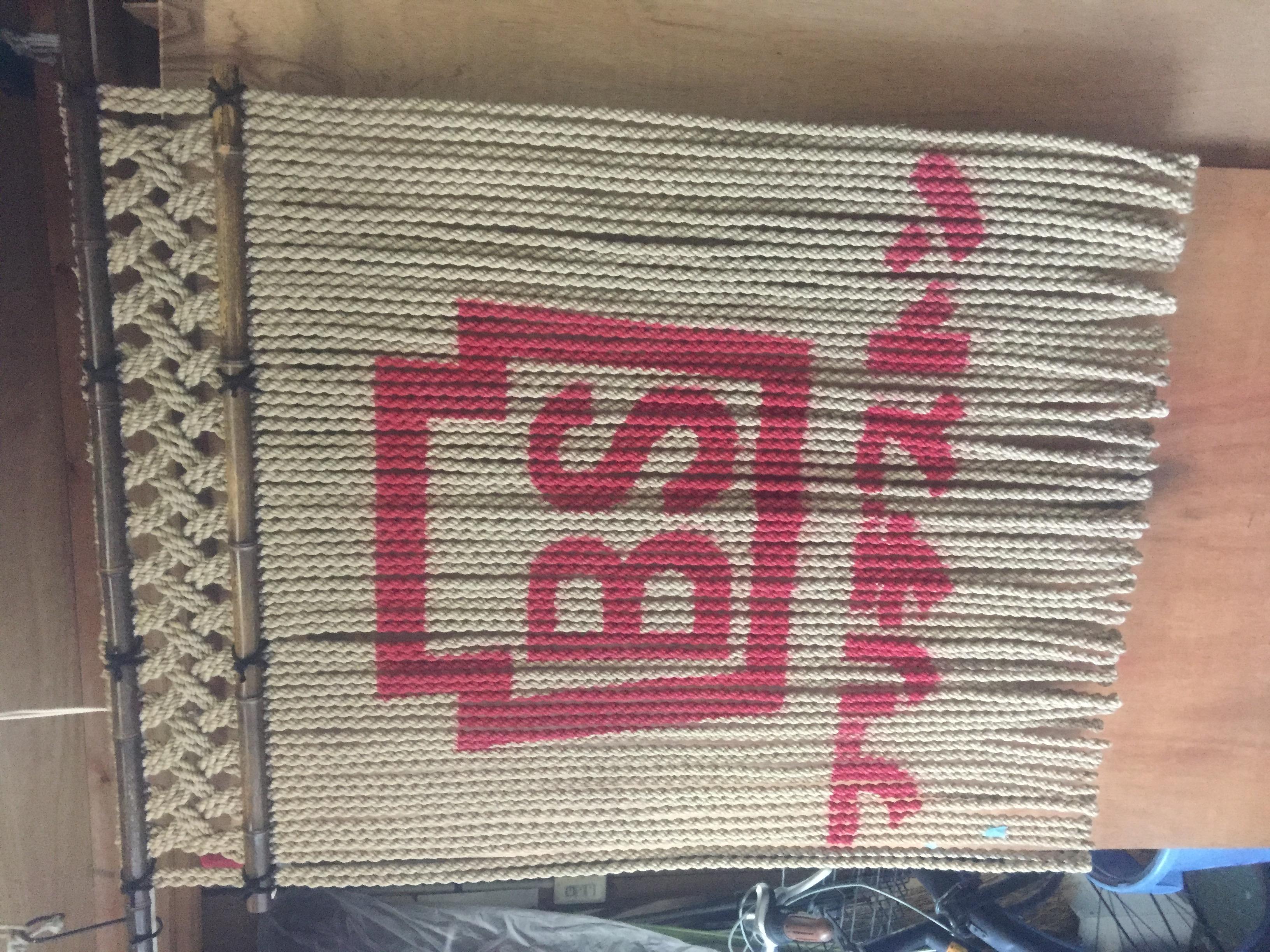 ジュート麻縄 ロゴ入れ 格子編み 黒竹