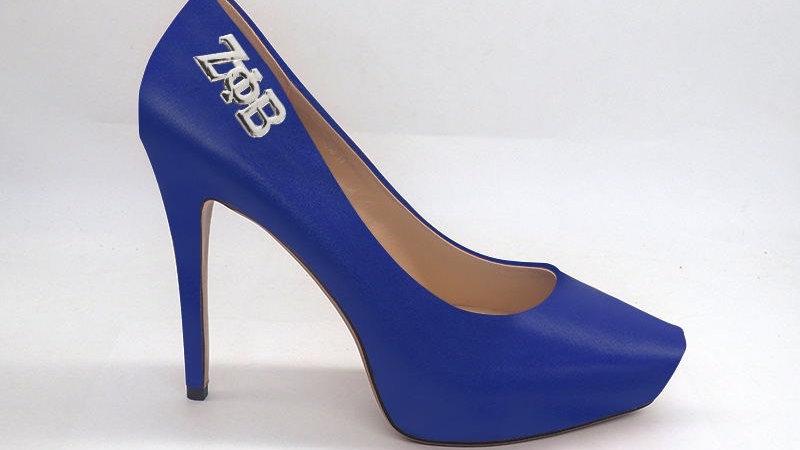 Blue  Genuine Leather Debossed Platform 4in Heel with silver buckle