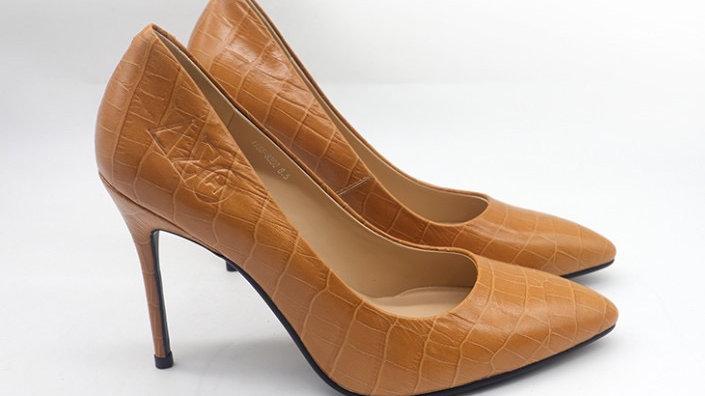 Camel ΔΣΘ Crocodile Pattern Leather Debossed heel