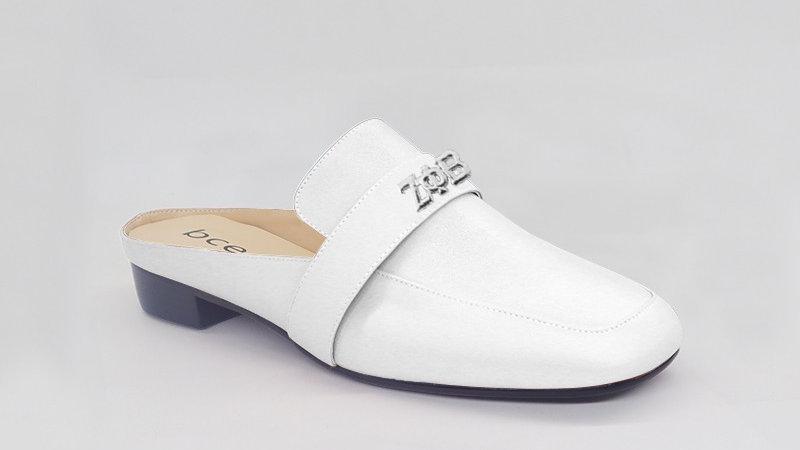 ΖΦΒ White Genuine Leather Flats with silver embedded buckle
