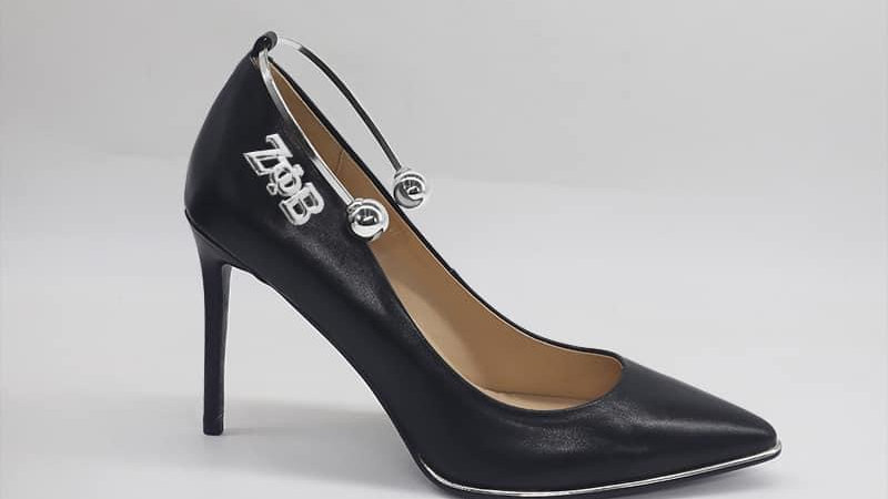 ΖΦB Black Genuine leather heels with silver ankle bracelet