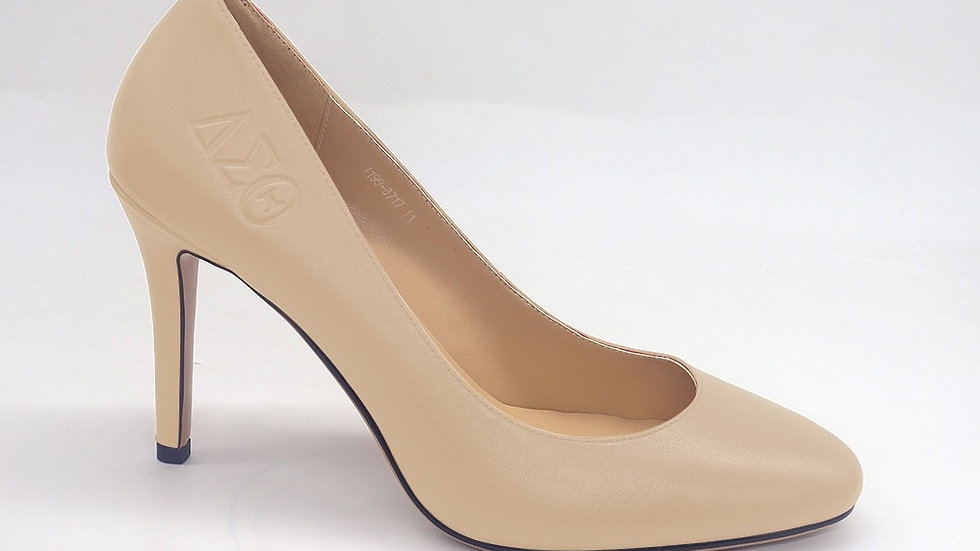 Beige Round Toe ΔΣΘ Genuine Leather Debossed heels