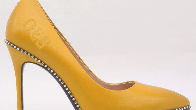 OES Yellow Genuine Leather debossed heels