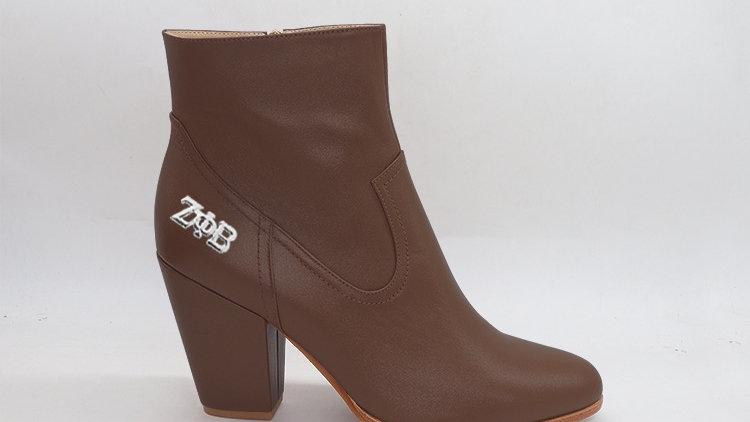 ΖΦΒ  Mocha Genuine Leather Boots with silver buckle