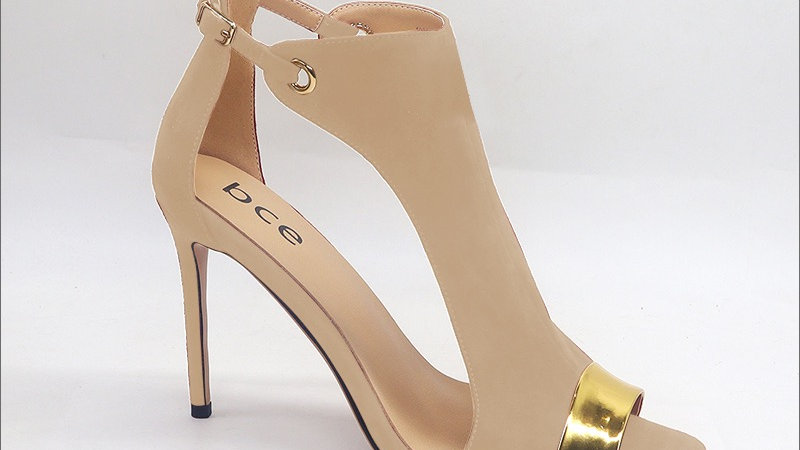 Beige Leather and Gold Metallic Genuine Leather 4in heels