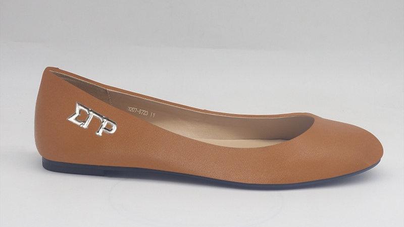 ΣΓΡ Cappuccino Genuine Leather Flats with gold buckle