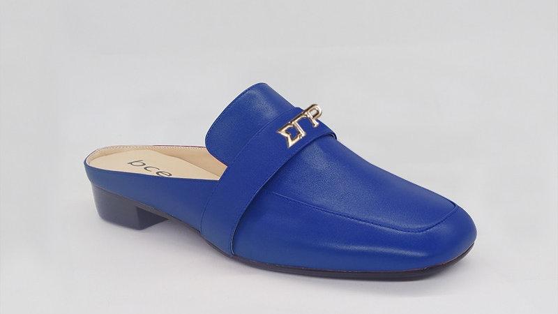 ΣΓΡ Blue Genuine Leather Flats with gold embedde buckle