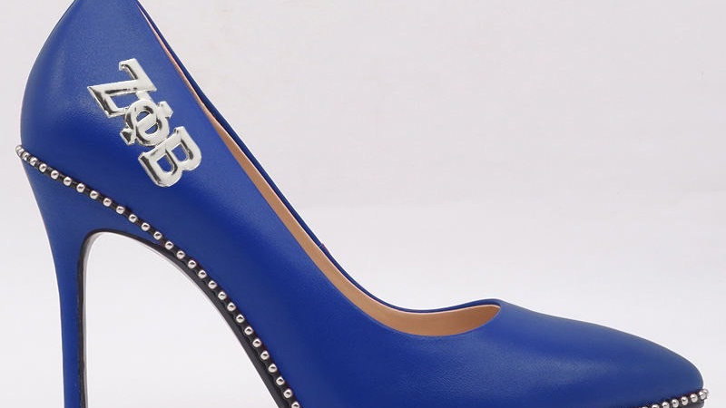 Blue Genuine Leather heels with silver ΖΦΒ buckle