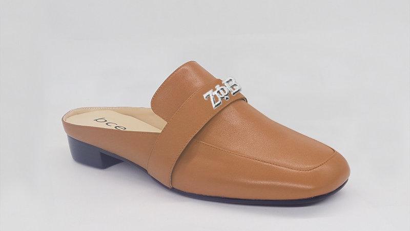 ΖΦΒ Cappuccino Genuine Leather Flats with silver embedded buckle