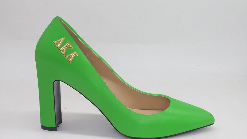 AKA Green Genuine Leather Block 4in heels with gold buckle