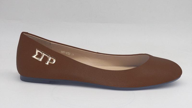 ΣΓΡ Mocha Genuine Leather Flats with gold buckle