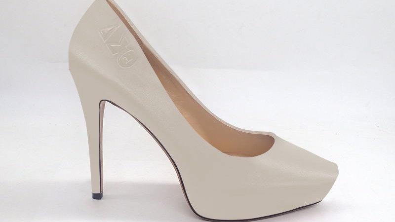 ΔΣΘ Light Gray Genuine Leather Debossed Platform Heel
