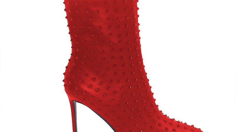 Red Genuine Leather Spiked 4in Boots