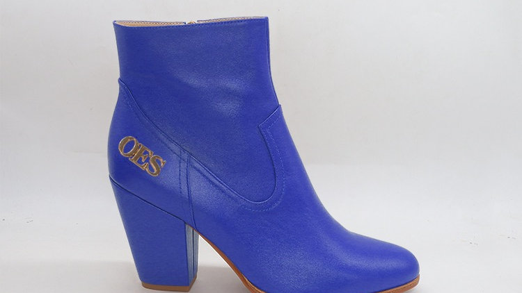OES Blue Genuine Leather Boots with gold  buckle