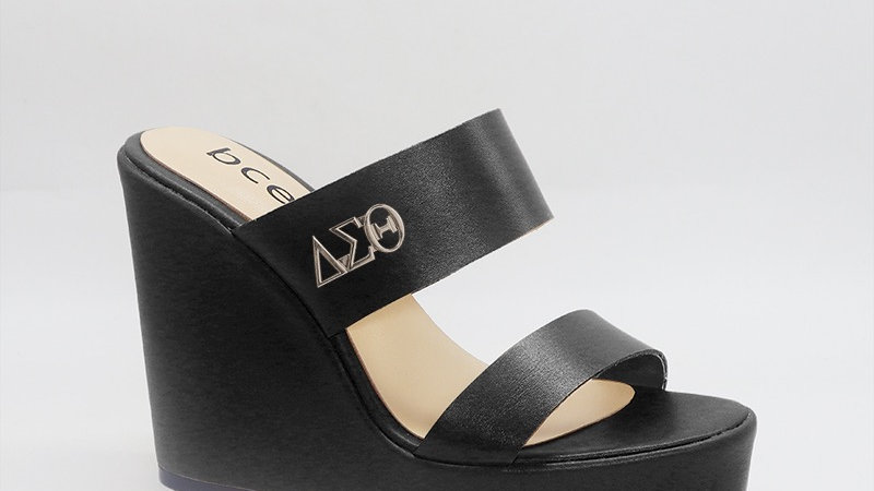 ΔΣΘ BLack Genuine Leather Wedges with gold  buckle
