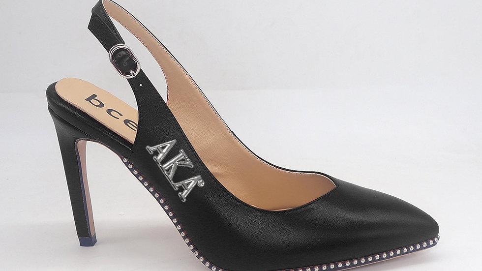 AKA Black Slingback Genuine Leather heels