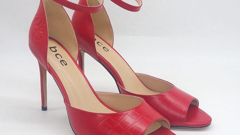 Red Debossed Genuine Leather Open Toe Heel