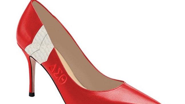 ΔΣΘ Debossed Genuine Leather/Faux Snake skin heels