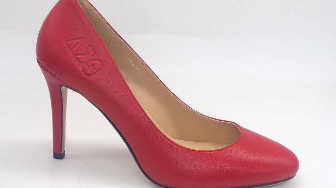 Red Round toe ΔΣΘ Genuine Leather Debossed heels