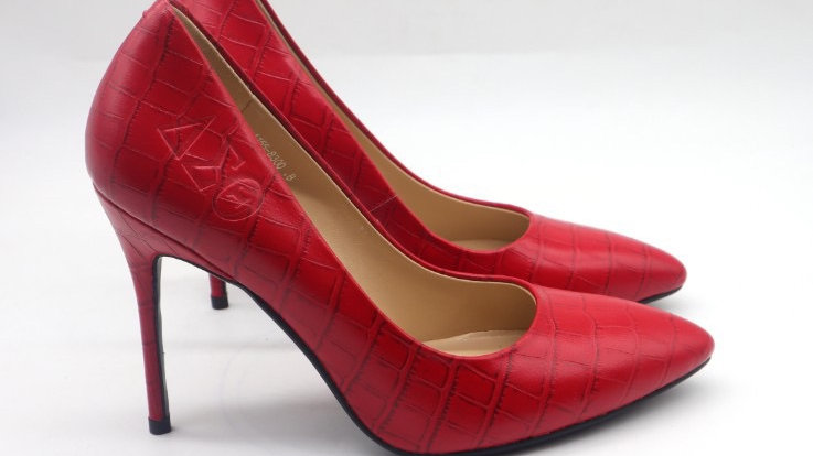 ΔΣΘ Red Crocodile pattern leather debossed heels