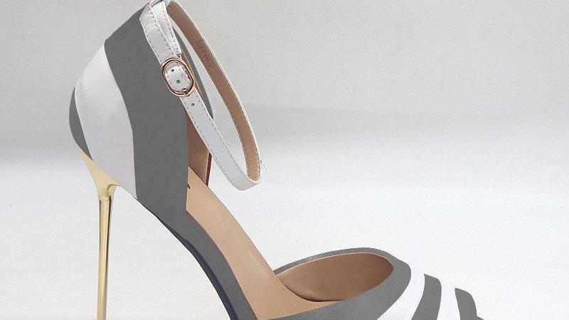 Dark Gray/White Genuine Leather 5in heels