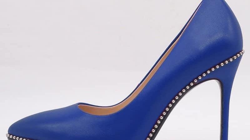 Blue Genuine Leather Heels