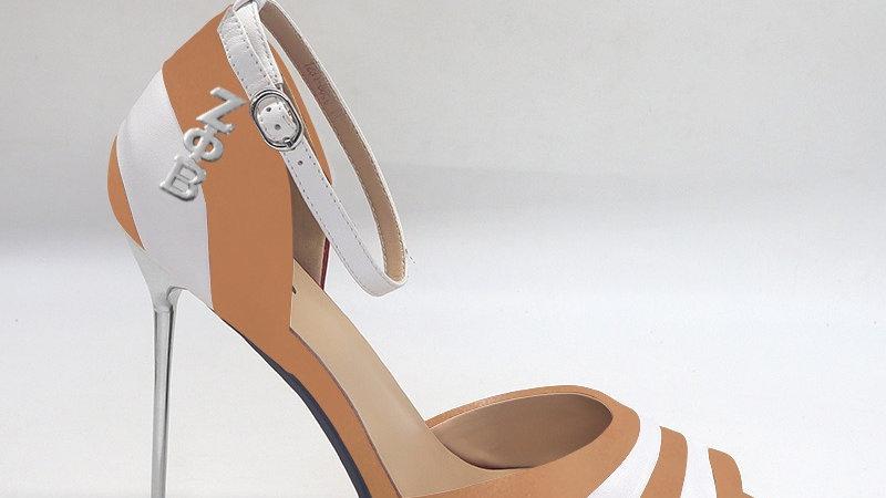 ΖΦΒ Cappuccino/White Genuine Leather 5in heels with silver buckle