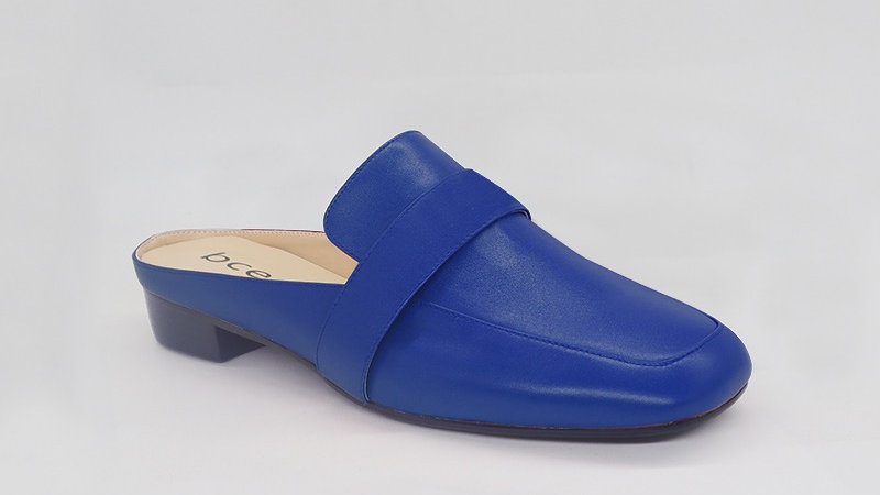Blue Genuine Leather Flats