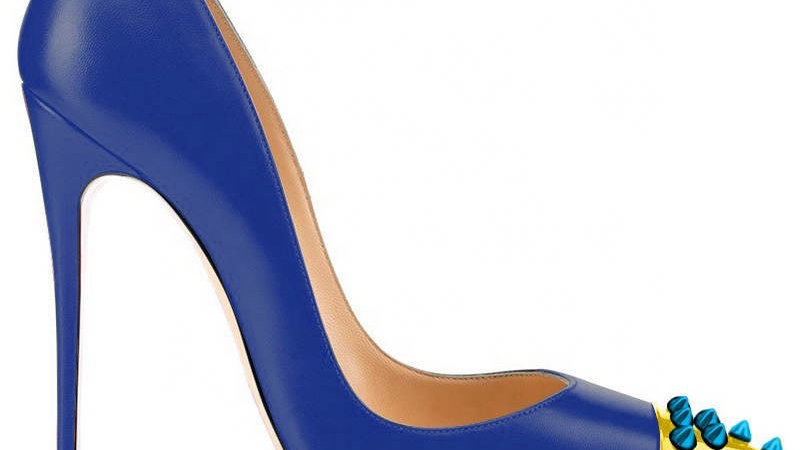 Blue/Gold Genuine Leather heel with Blue Spikes