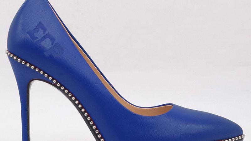 ΣΓΡ Blue Genuine Leather debossed heels