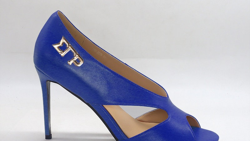 ΣΓΡ Blue Genuine Leather 4in heels with gold embedded buckle