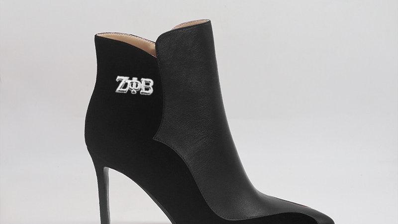 ΖΦΒ Black Genuine Leather/Suede Leather 4in heels w/silver buckle