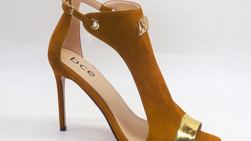 Brown Suede and Metallic Gold Leather Heels