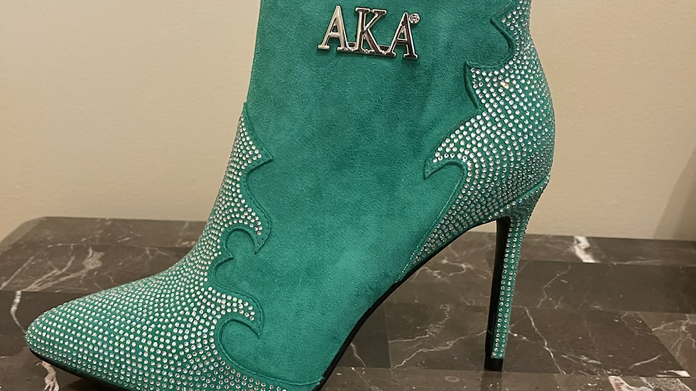 AKA Genuine Suede leather boots size 9 (4in heels)