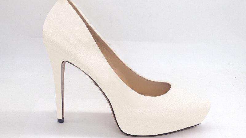 Cream Genuine Leather Platform 4in Heels