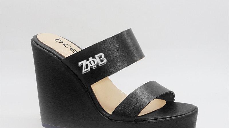 ΖΦB Black Genuine Leather Wedges with silver embedded buckle