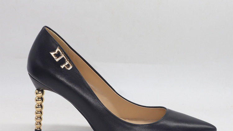 ΣΓΡ Black Genuine leather heels with gold  buckle