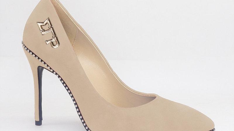 ΣΓΡ Beige Genuine Suede Leather Heels with Gold  Buckle