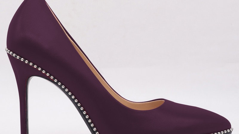 Purple Genuine Leather Heels