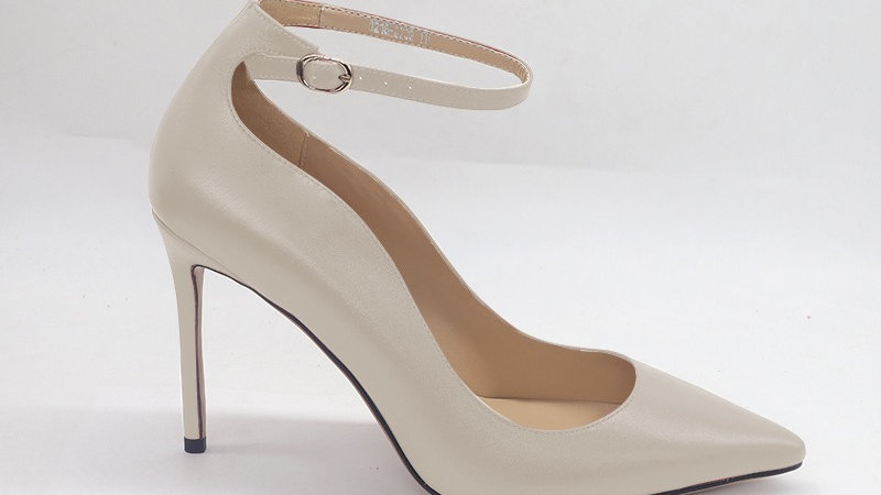 Light Gray Genuine Leather strap 4in heels