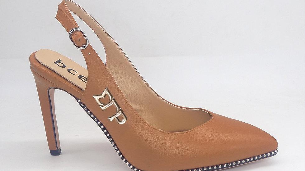 ΣΓΡ Cappuccino Slingback Genuine Leather Heels with gold buckle